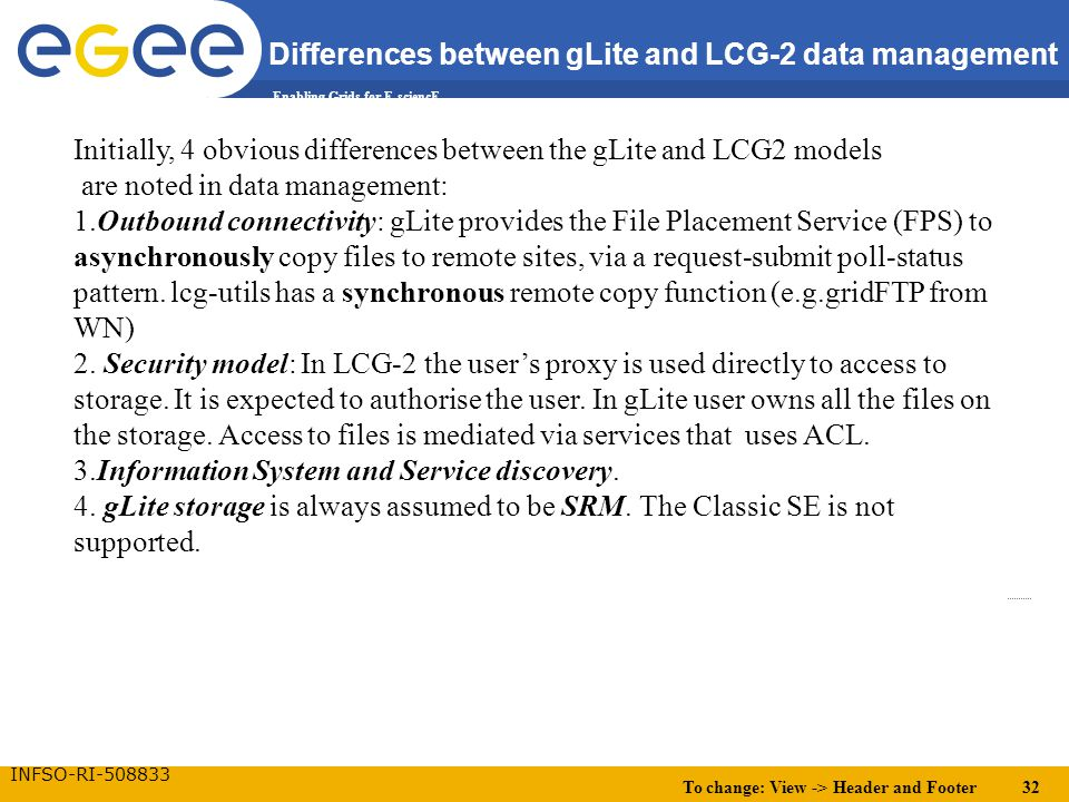 To change: View -> Header and Footer 32 Enabling Grids for E-sciencE INFSO-RI-508833 Differences between gLite and LCG-2 data management Initially, 4 obvious differences between the gLite and LCG2 models are noted in data management: 1.Outbound connectivity: gLite provides the File Placement Service (FPS) to asynchronously copy files to remote sites, via a request-submit poll-status pattern.