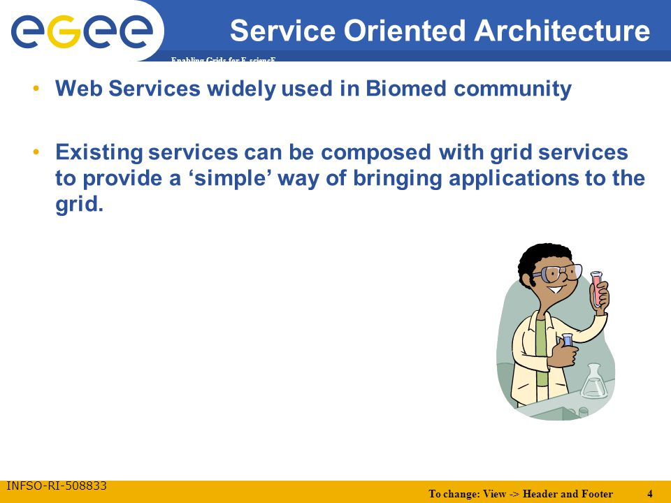 To change: View -> Header and Footer 4 Enabling Grids for E-sciencE INFSO-RI-508833 Service Oriented Architecture Web Services widely used in Biomed c