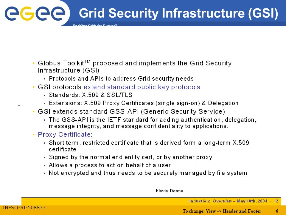 To change: View -> Header and Footer 6 Enabling Grids for E-sciencE INFSO-RI-508833 Grid Security Infrastructure (GSI)..