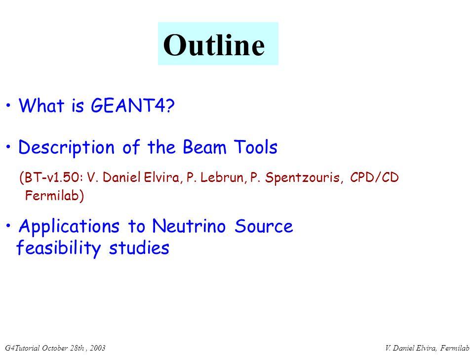 V. Daniel Elvira, FermilabG4Tutorial October 28th, 2003 What is GEANT4.