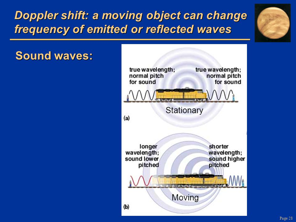 Page 28 Doppler shift: a moving object can change frequency of emitted or reflected waves Sound waves: Stationary Moving