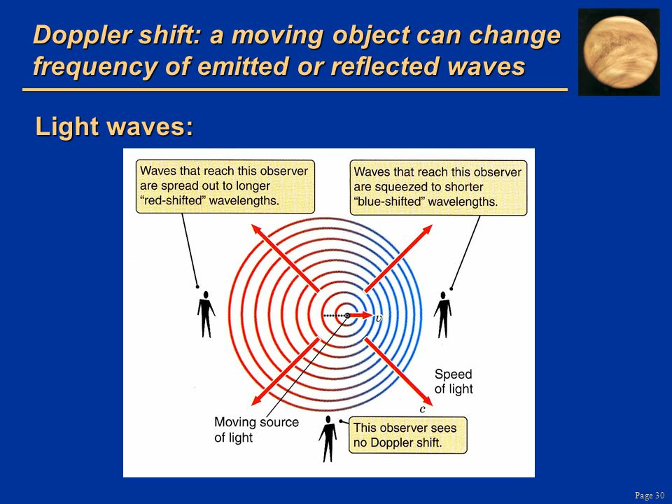 Page 30 Doppler shift: a moving object can change frequency of emitted or reflected waves Light waves: