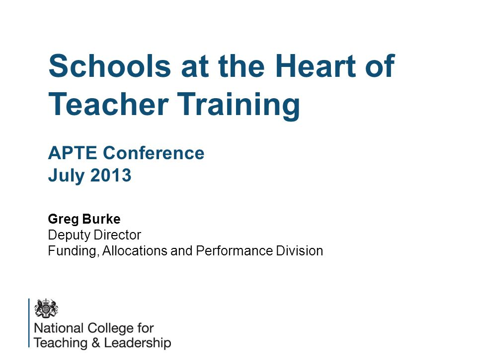 Transforming Initial Teacher Training Agenda  New Players  New Perspectives  New Purposes  Partnerships