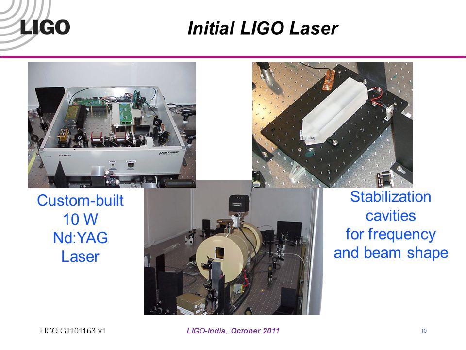 LIGO-India, October 2011 10 Initial LIGO Laser Custom-built 10 W Nd:YAG Laser Stabilization cavities for frequency and beam shape LIGO-G1101163-v1