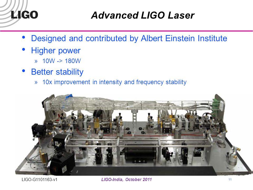 LIGO-India, October 2011 11 Advanced LIGO Laser Designed and contributed by Albert Einstein Institute Higher power »10W -> 180W Better stability »10x