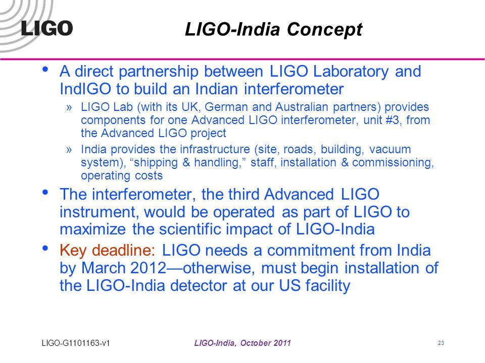 LIGO-India, October 2011 23 LIGO-India Concept A direct partnership between LIGO Laboratory and IndIGO to build an Indian interferometer »LIGO Lab (wi
