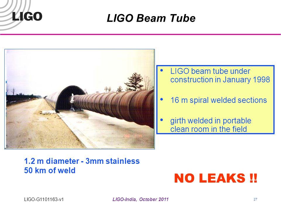 LIGO-India, October 2011 27 LIGO Beam Tube LIGO beam tube under construction in January 1998 16 m spiral welded sections girth welded in portable clea