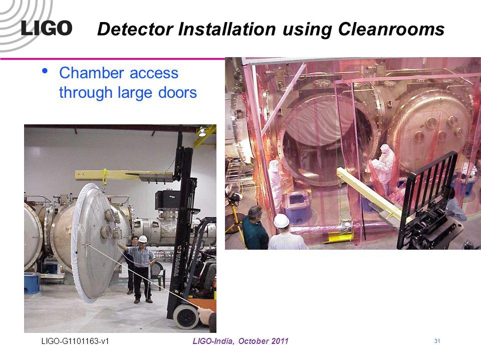 LIGO-India, October 2011 31 Detector Installation using Cleanrooms Chamber access through large doors LIGO-G1101163-v1