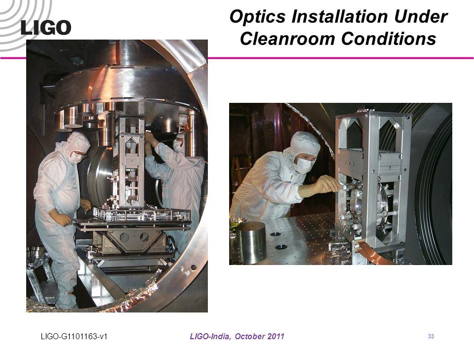 LIGO-India, October 2011 33 Optics Installation Under Cleanroom Conditions LIGO-G1101163-v1