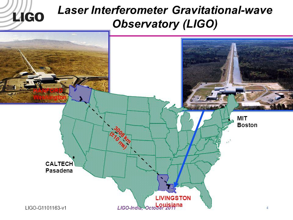 LIGO-India, October 2011 4 Laser Interferometer Gravitational-wave Observatory (LIGO) LIGO-G1101163-v1