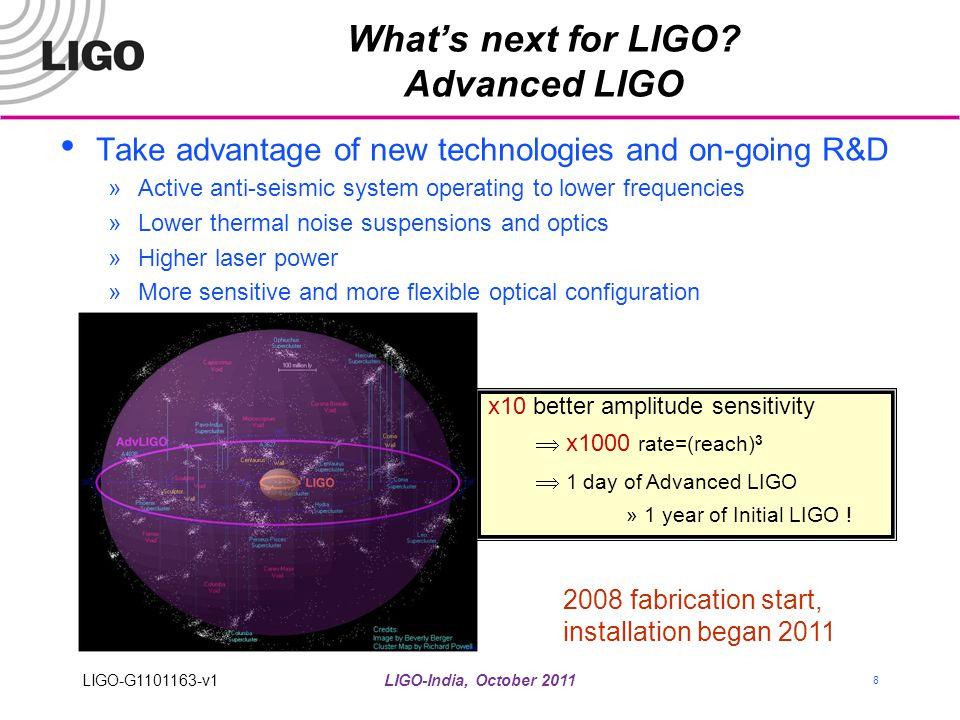 LIGO-India, October 2011 8 What's next for LIGO? Advanced LIGO Take advantage of new technologies and on-going R&D »Active anti-seismic system operati