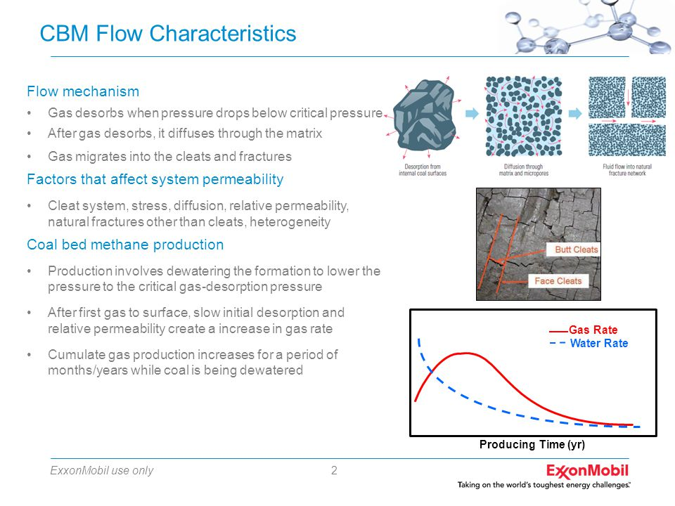ExxonMobil use only2 CBM Flow Characteristics Producing Time (yr) Gas Rate Water Rate Flow mechanism Gas desorbs when pressure drops below critical pressure After gas desorbs, it diffuses through the matrix Gas migrates into the cleats and fractures Factors that affect system permeability Cleat system, stress, diffusion, relative permeability, natural fractures other than cleats, heterogeneity Coal bed methane production Production involves dewatering the formation to lower the pressure to the critical gas-desorption pressure After first gas to surface, slow initial desorption and relative permeability create a increase in gas rate Cumulate gas production increases for a period of months/years while coal is being dewatered