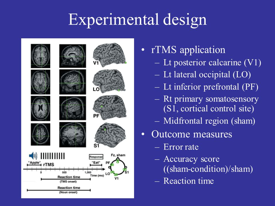 Experimental design rTMS application –Lt posterior calcarine (V1) –Lt lateral occipital (LO) –Lt inferior prefrontal (PF) –Rt primary somatosensory (S1, cortical control site) –Midfrontal region (sham) Outcome measures –Error rate –Accuracy score ((sham-condition)/sham) –Reaction time