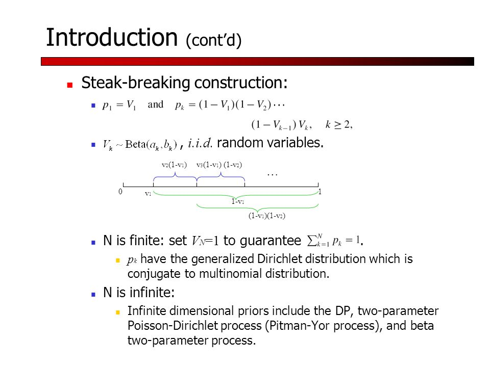 Introduction (cont'd) Steak-breaking construction:, i.i.d.