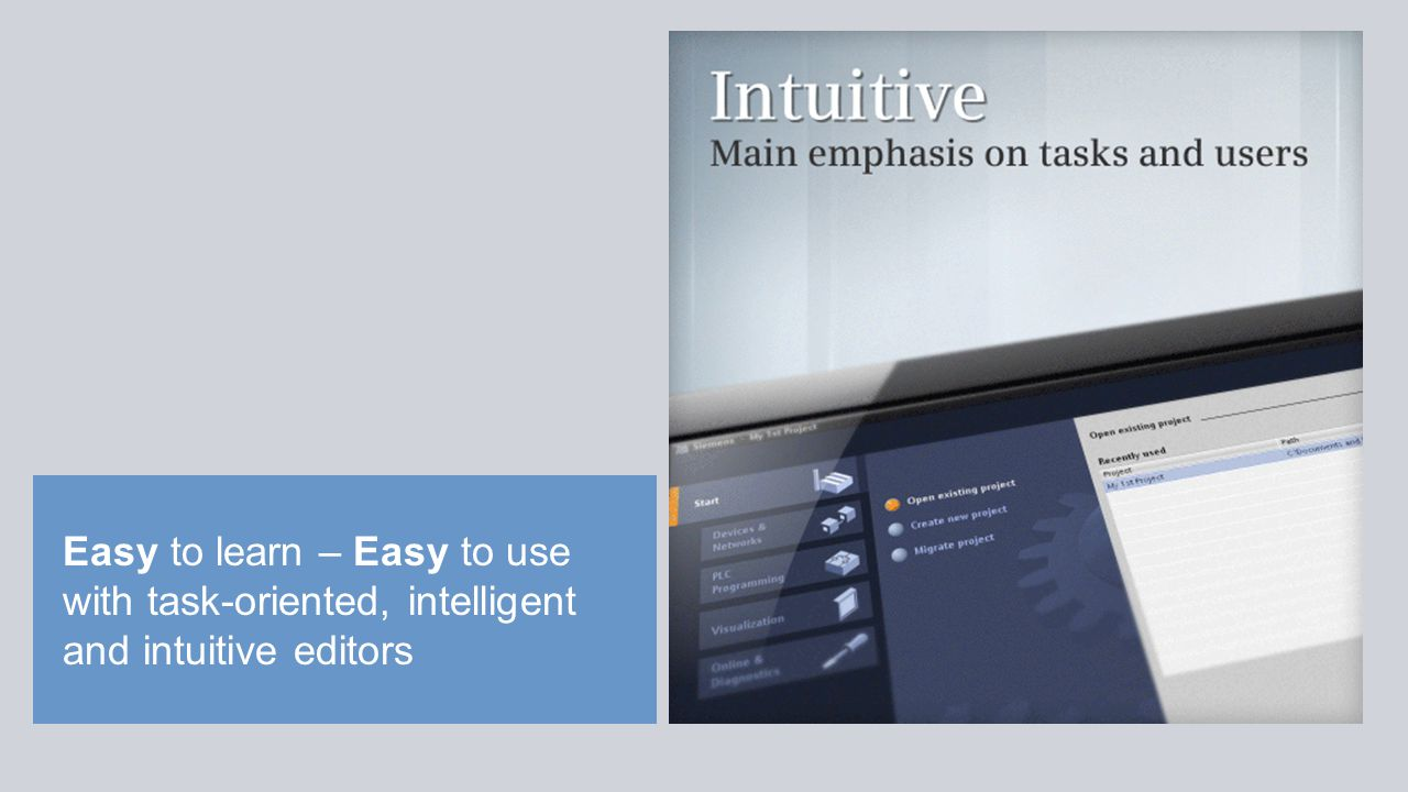 Easy to learn – Easy to use with task-oriented, intelligent and intuitive editors