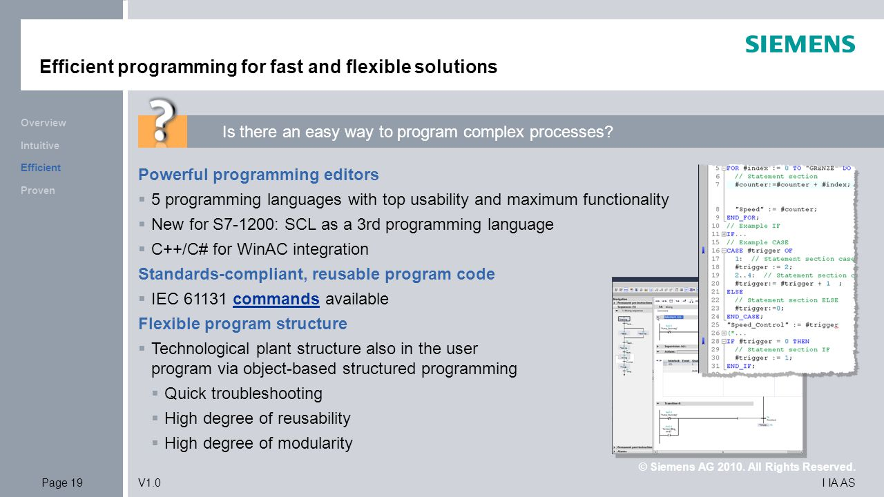 © Siemens AG 2010. All Rights Reserved. I IA ASPage 19V1.0 Efficient programming for fast and flexible solutions Powerful programming editors  5 prog