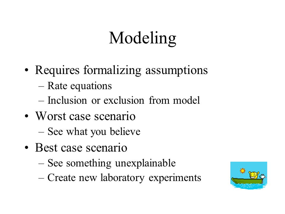 Modeling Requires formalizing assumptions –Rate equations –Inclusion or exclusion from model Worst case scenario –See what you believe Best case scena