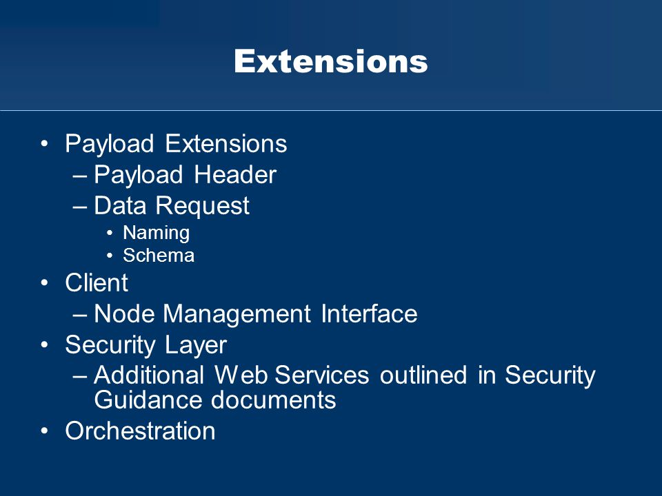 Extensions Payload Extensions –Payload Header –Data Request Naming Schema Client –Node Management Interface Security Layer –Additional Web Services ou