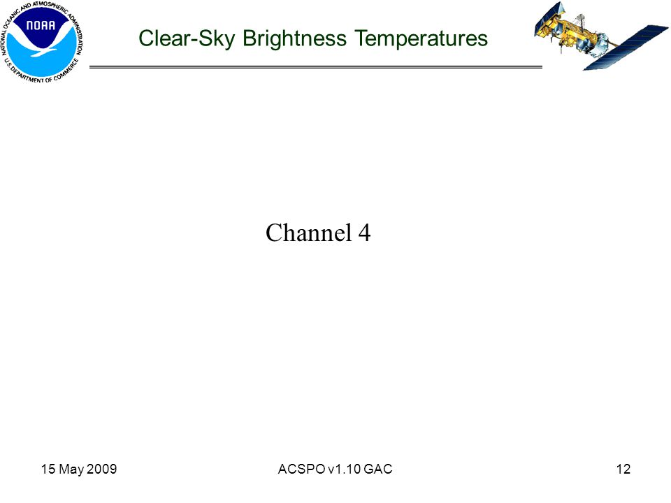 15 May 2009ACSPO v1.10 GAC12 Channel 4 Clear-Sky Brightness Temperatures