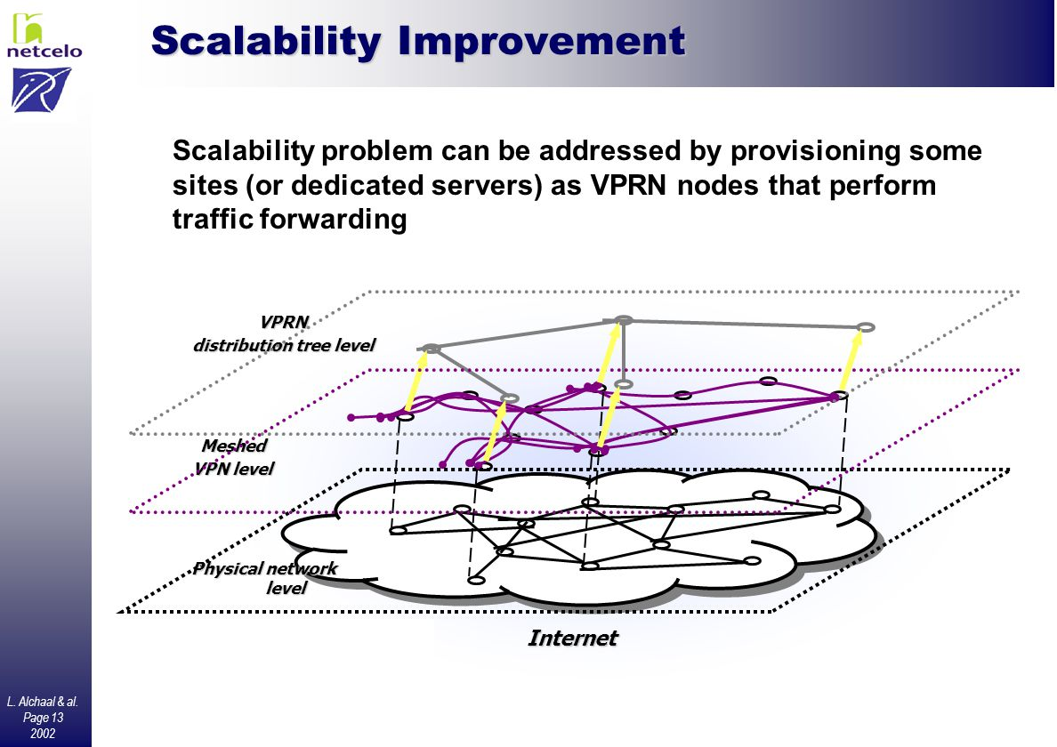 L. Alchaal & al. Page 13 2002 Scalability Improvement Internet VPRN distribution tree level Meshed VPN level Physical network level Scalability proble