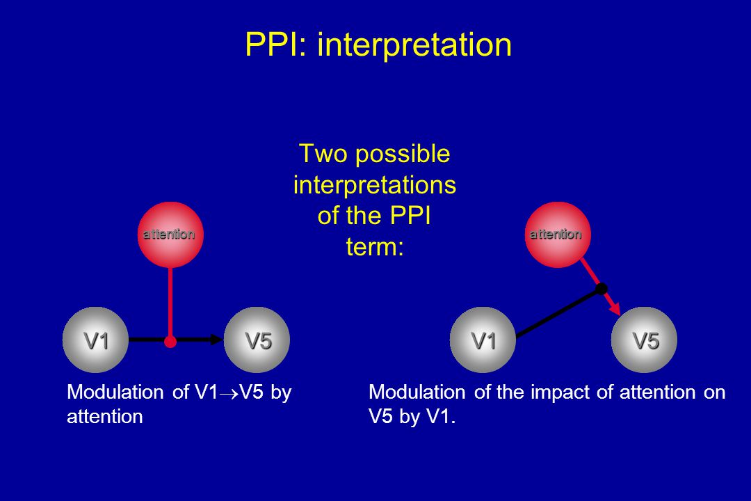 PPI: interpretation Two possible interpretations of the PPI term: V1 Modulation of V1  V5 by attention Modulation of the impact of attention on V5 by V1.