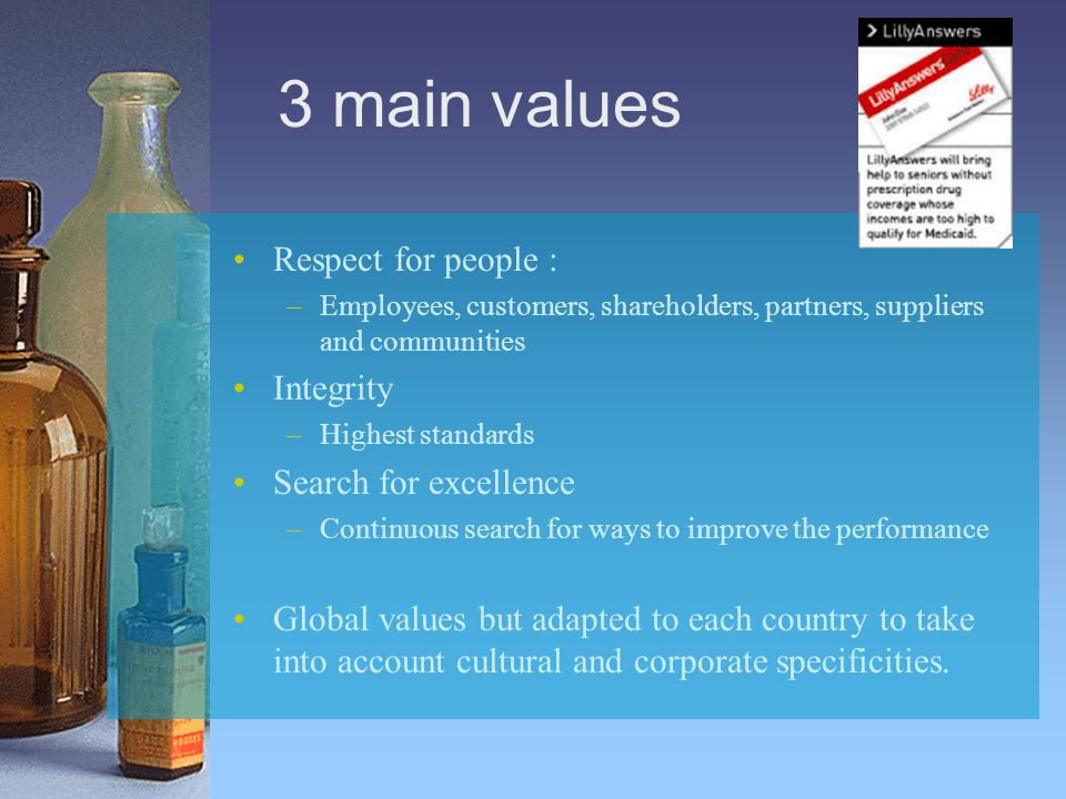 3 main values Respect for people : –Employees, customers, shareholders, partners, suppliers and communities Integrity –Highest standards Search for ex