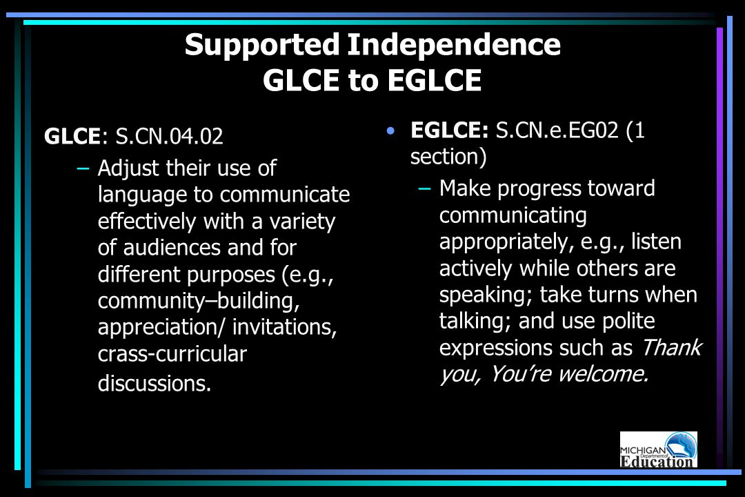 Supported Independence GLCE to EGLCE GLCE: S.CN.04.02 –Adjust their use of language to communicate effectively with a variety of audiences and for different purposes (e.g., community–building, appreciation/ invitations, crass-curricular discussions.