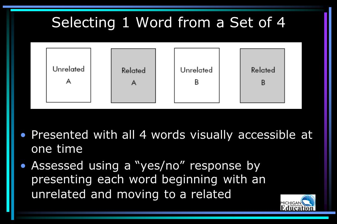 Selecting 1 Word from a Set of 4 Presented with all 4 words visually accessible at one time Assessed using a yes/no response by presenting each word beginning with an unrelated and moving to a related