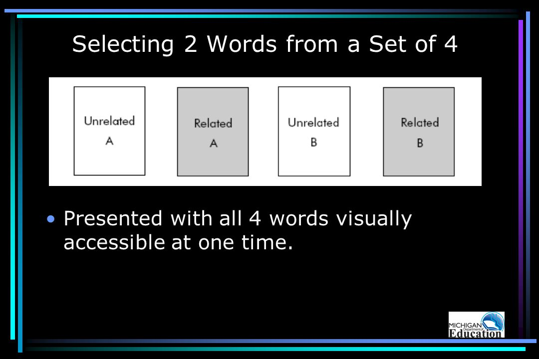 Selecting 2 Words from a Set of 4 Presented with all 4 words visually accessible at one time.
