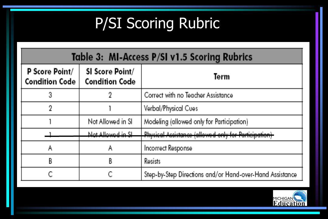 P/SI Scoring Rubric