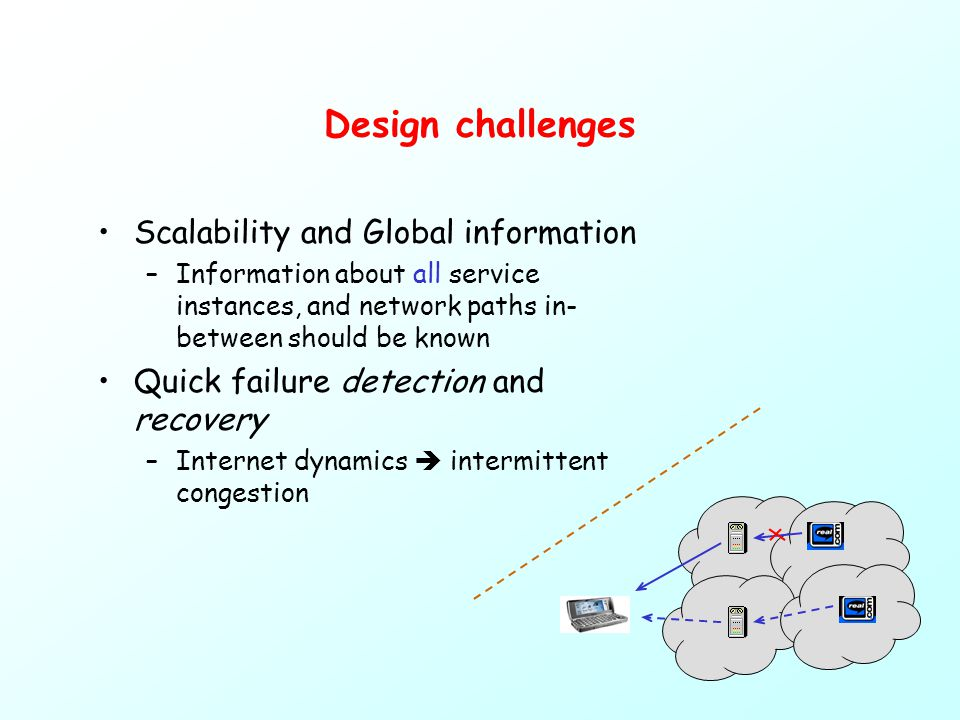 Design challenges Scalability and Global information –Information about all service instances, and network paths in- between should be known Quick failure detection and recovery –Internet dynamics  intermittent congestion