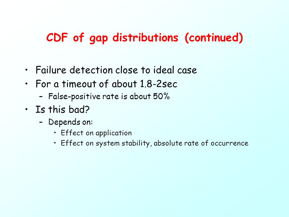 CDF of gap distributions (continued) Failure detection close to ideal case For a timeout of about 1.8-2sec –False-positive rate is about 50% Is this bad.