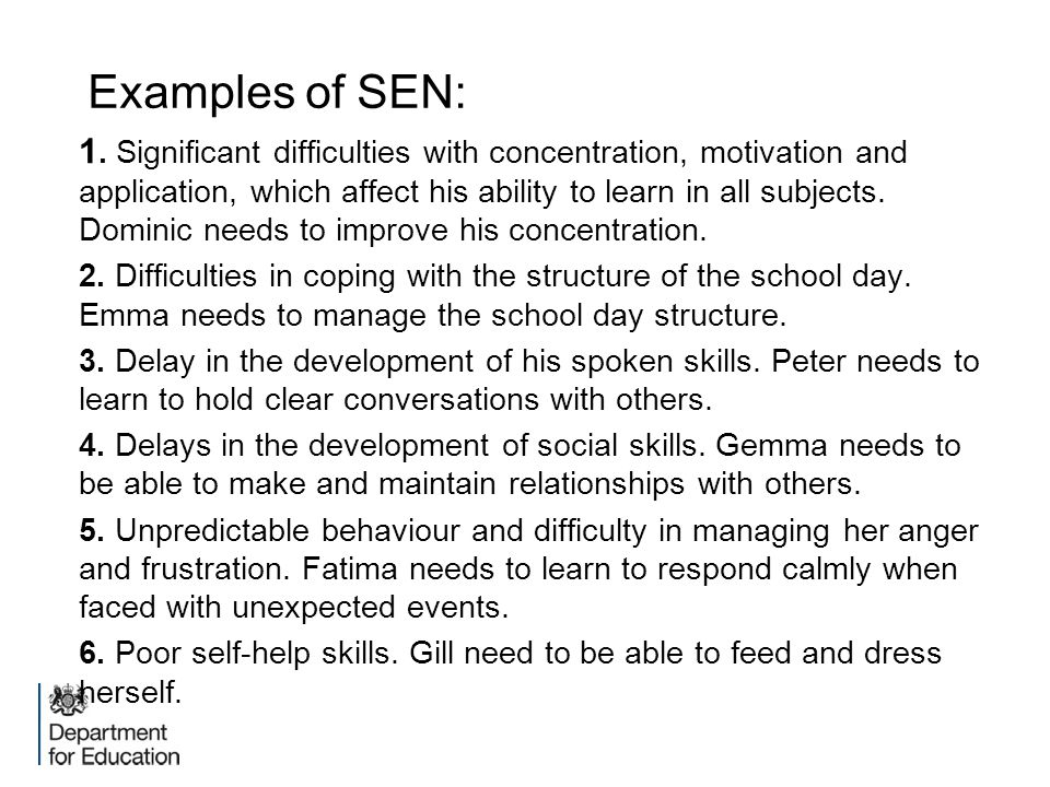 Examples of SEN: 1. Significant difficulties with concentration, motivation and application, which affect his ability to learn in all subjects. Domini