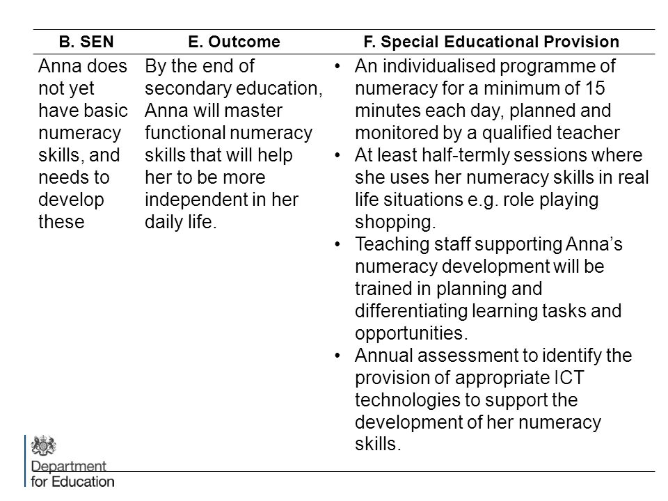 B. SENE. OutcomeF. Special Educational Provision Anna does not yet have basic numeracy skills, and needs to develop these By the end of secondary educ