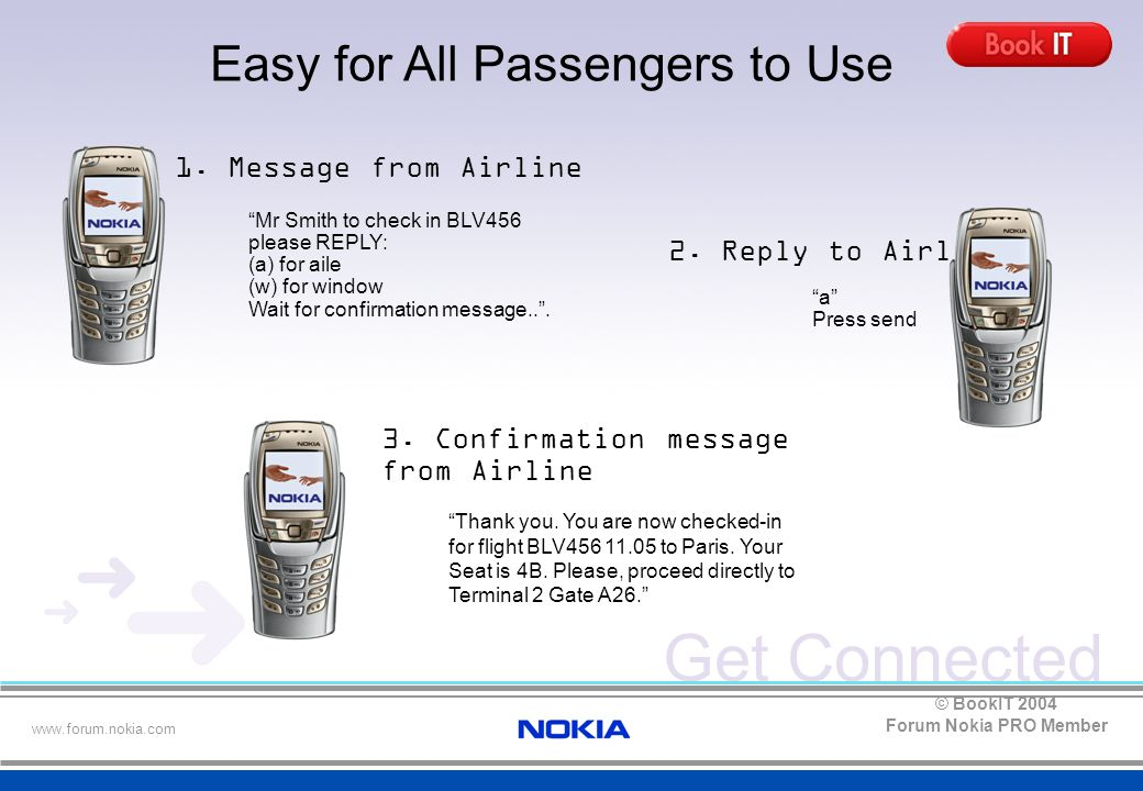 Get Connected www.forum.nokia.com Forum Nokia PRO Member © BookIT 2004 Mr Smith to check in BLV456 please REPLY: (a) for aile (w) for window Wait for confirmation message.. .