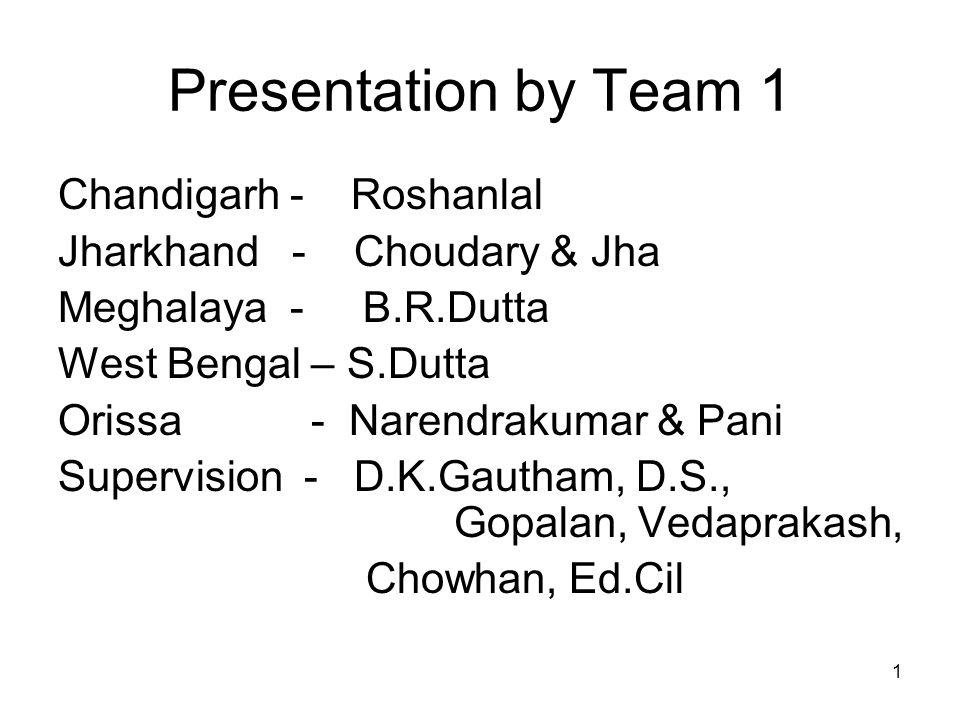 1 Presentation by Team 1 Chandigarh - Roshanlal Jharkhand - Choudary & Jha Meghalaya - B.R.Dutta West Bengal – S.Dutta Orissa - Narendrakumar & Pani Supervision - D.K.Gautham, D.S., Gopalan, Vedaprakash, Chowhan, Ed.Cil