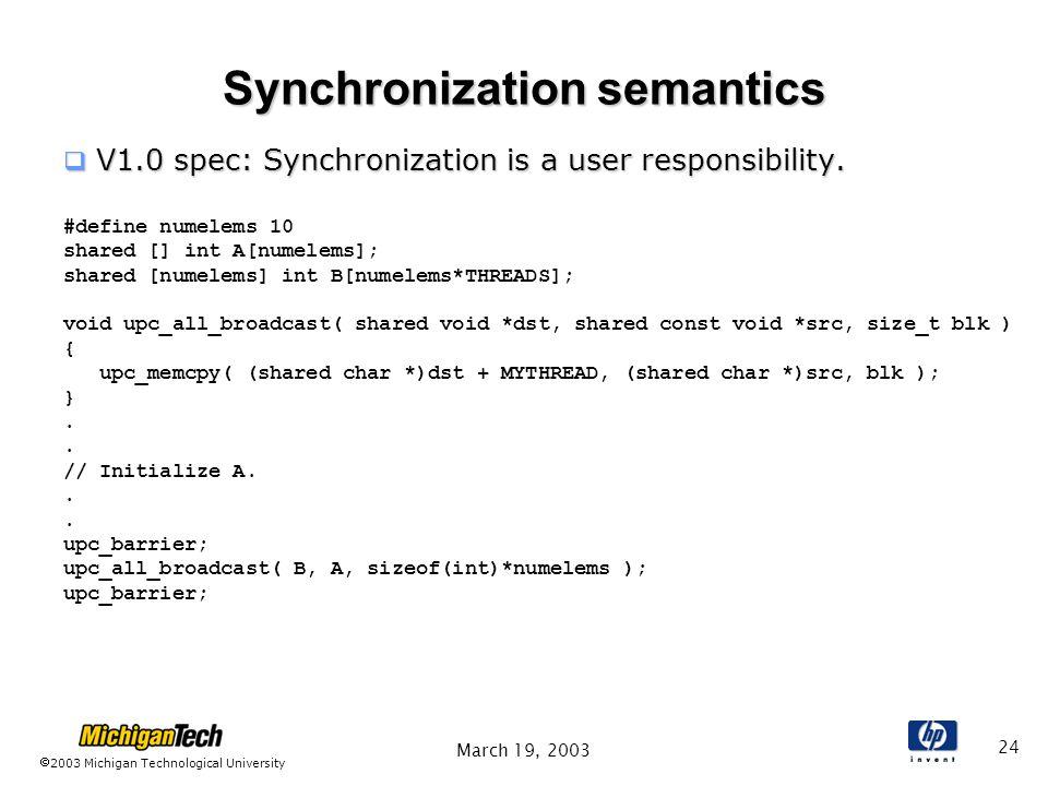 2003 Michigan Technological University March 19, 2003 24 Synchronization semantics  V1.0 spec: Synchronization is a user responsibility.