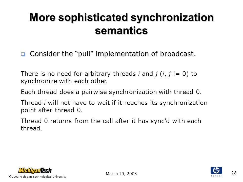 2003 Michigan Technological University March 19, More sophisticated synchronization semantics  Consider the pull implementation of broadcast.