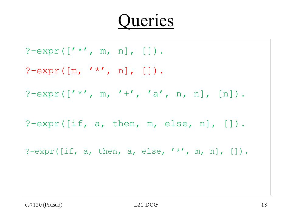 Queries ?-expr(['*', m, n], []). ?-expr([m, '*', n], []). ?-expr(['*', m, '+', 'a', n, n], [n]). ?-expr([if, a, then, m, else, n], []). ?-expr([if, a,