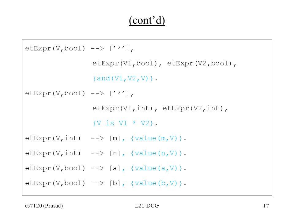 (cont'd) etExpr(V,bool) --> ['*'], etExpr(V1,bool), etExpr(V2,bool), {and(V1,V2,V)}.