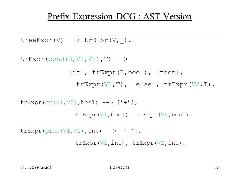 Prefix Expression DCG : AST Version treeExpr(V) --> trExpr(V,_).