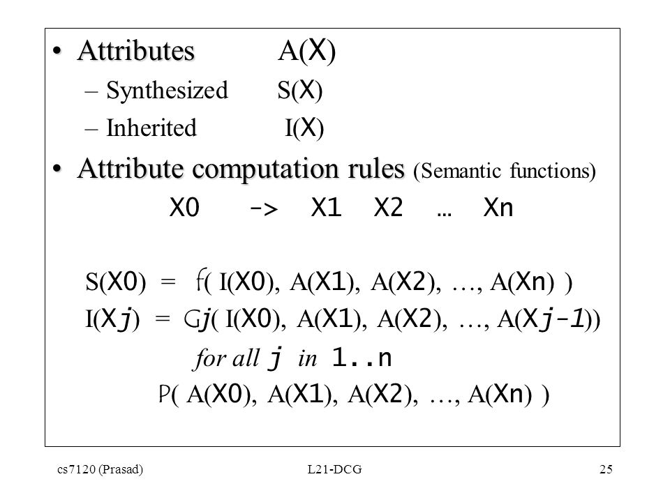 cs7120 (Prasad)L21-DCG25 AttributesAttributes A( X ) –Synthesized S( X ) –Inherited I( X ) Attribute computation rulesAttribute computation rules (Semantic functions) X0 -> X1 X2 … Xn S( X0 ) = f ( I( X0 ), A( X1 ), A( X2 ), …, A( Xn ) ) I( Xj ) = G j ( I( X0 ), A( X1 ), A( X2 ), …, A( Xj-1 )) for all j in 1..n P ( A( X0 ), A( X1 ), A( X2 ), …, A( Xn ) )