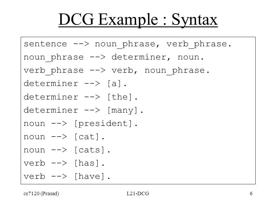 DCG Example : Syntax sentence --> noun_phrase, verb_phrase.