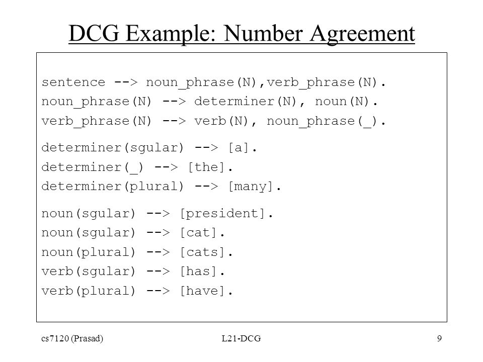 DCG Example: Number Agreement sentence --> noun_phrase(N),verb_phrase(N).