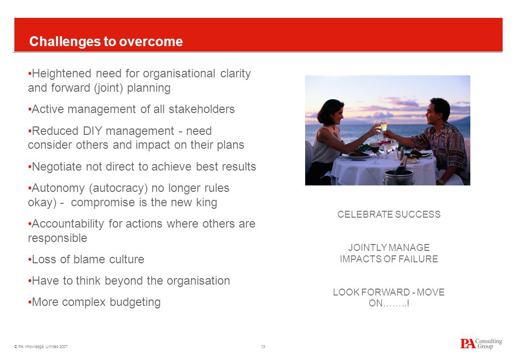 © PA Knowledge Limited 2007. 13 Challenges to overcome Heightened need for organisational clarity and forward (joint) planning Active management of al