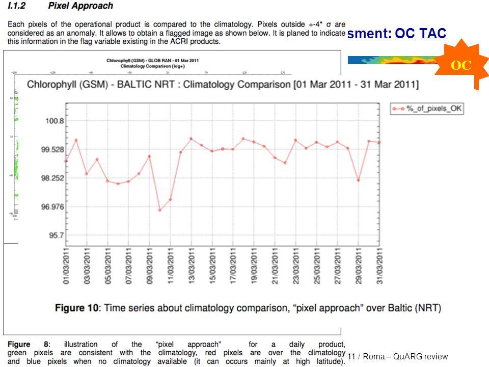 Marine Core Service MyOcean : PRR Stream1 V1 – 29th April 2011 / Roma – QuARG review Flavour of the V1 Product Quality assessment: OC TAC OC 12