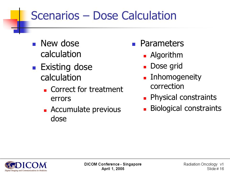 Radiation Oncology v1 Slide # 16 DICOM Conference - Singapore April 1, 2005 Scenarios – Dose Calculation New dose calculation Existing dose calculatio