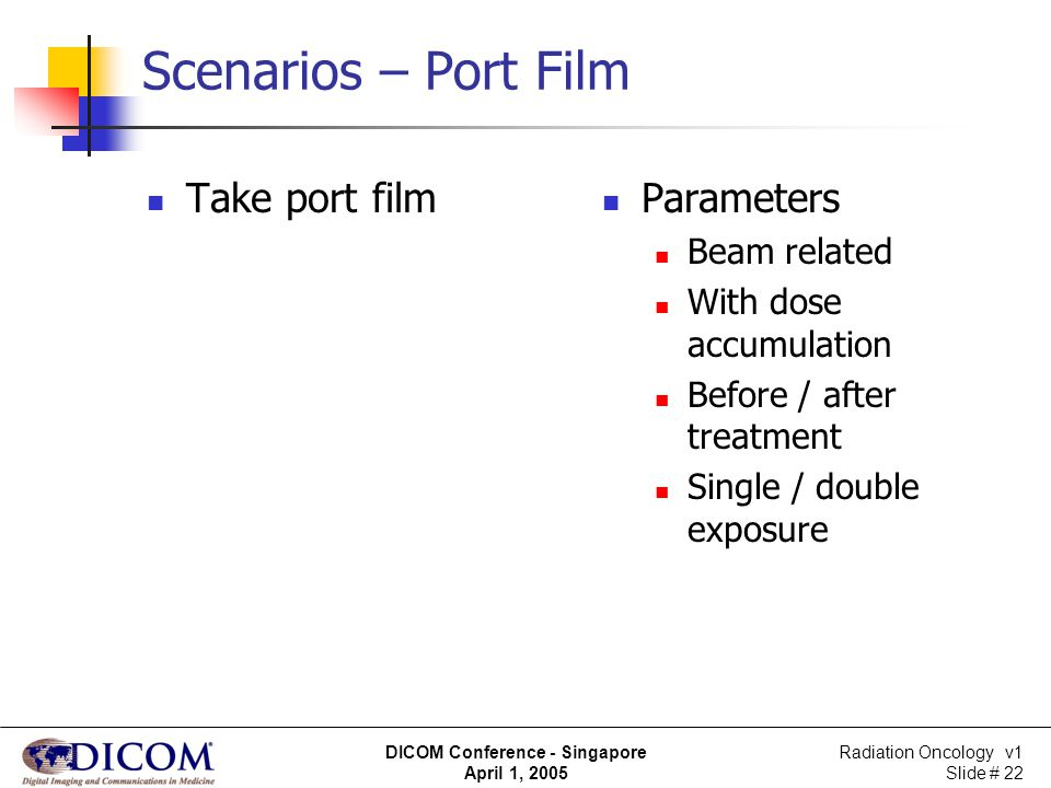 Radiation Oncology v1 Slide # 22 DICOM Conference - Singapore April 1, 2005 Scenarios – Port Film Take port film Parameters Beam related With dose acc