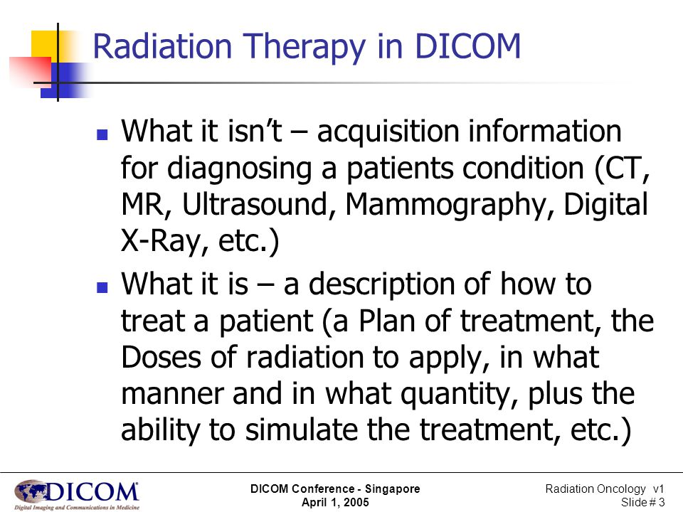 Radiation Oncology v1 Slide # 14 DICOM Conference - Singapore April 1, 2005 Scenarios – Treatment Planning New treatment plan Existing treatment plan New version Competing plan Parameters Technique Number of beams Treatment unit