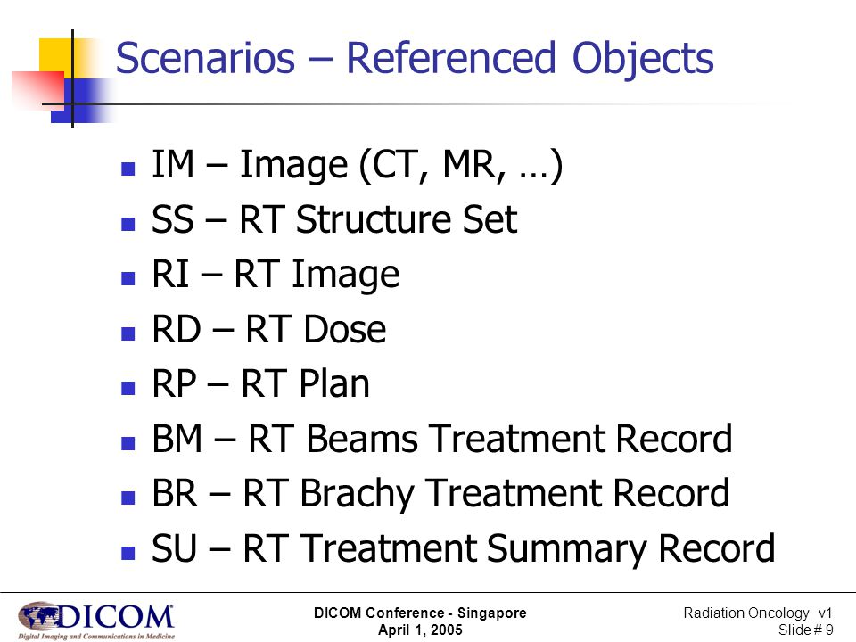 Radiation Oncology v1 Slide # 30 DICOM Conference - Singapore April 1, 2005 IHE in Radiation Oncology (IHE-RO) A stage 1 demonstration scenario was developed: involves a normal flow use case for a patient in a radiotherapy department can be achieved using existing DICOM components extended set of query/retrieve attributes specific to radiation therapy is being defined to enhance interoperability between radiation therapy systems enhanced General Purpose Worklist for RT may also be used in the demonstrations.